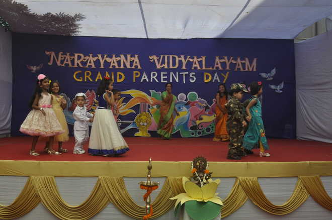 Paying love to grandparents at Narayana Vidyalayam