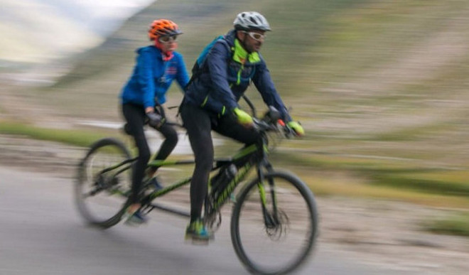 On A Tandem, Blind Girl Cycles To Himalayas