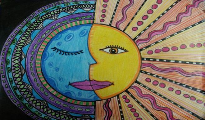 Divya V's Painting Of Moon And Sun