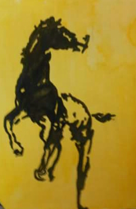 Aadrit Banerjee's Painting 'The Dark Horse'