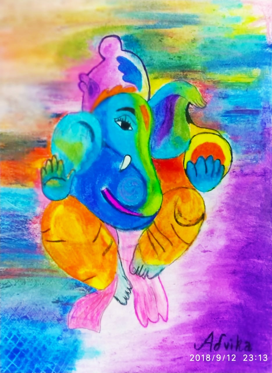 Advika's Lord Ganesha In Oil Pastels