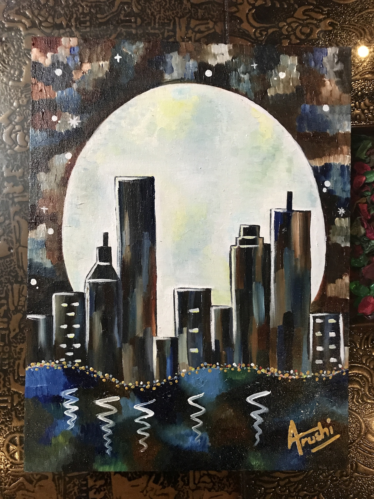 Arushi's Painting On City Life