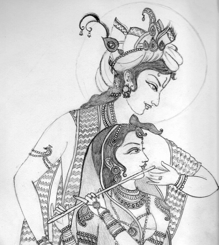 Nimisha's Sketch Of Lord Krishna And Radha