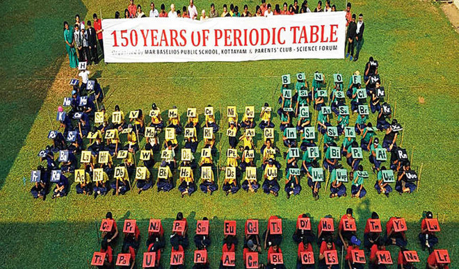 Children bring alive the periodic table on National Science Day
