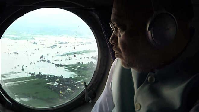Shah Does Aerial Survey of Rain-Hit Areas