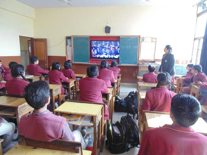 Students Watch Live Telecast Of Pariksha Pe Charcha