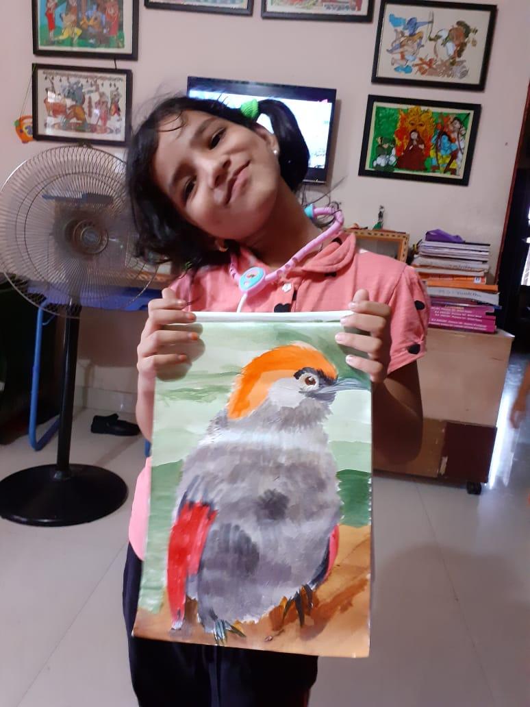 Shanmukh Priya's Red-winged Laughingthrush Bird Painting
