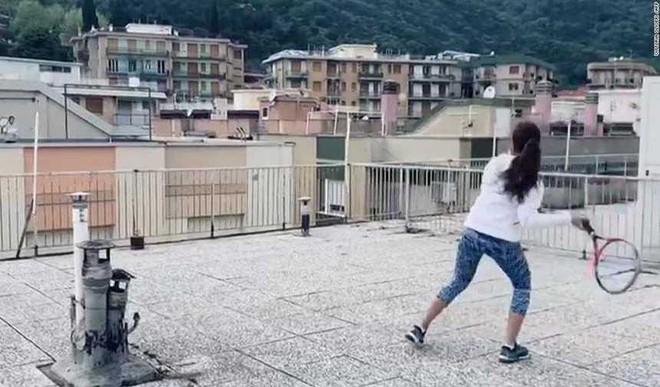 Italian Girls Play Rooftop Tennis