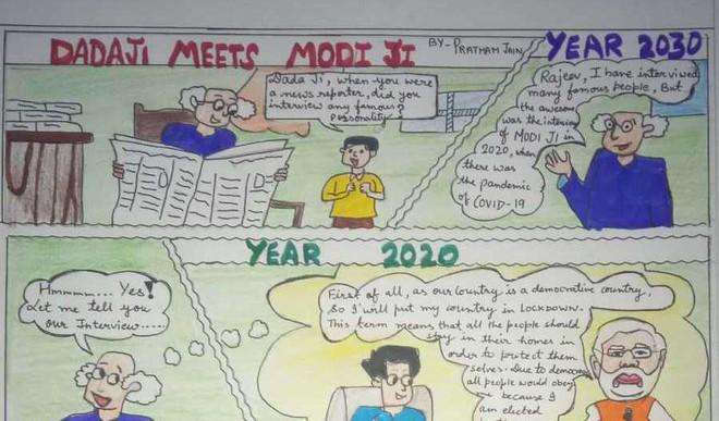 Our Student's Comic Strip On Dadaji Meets Modiji