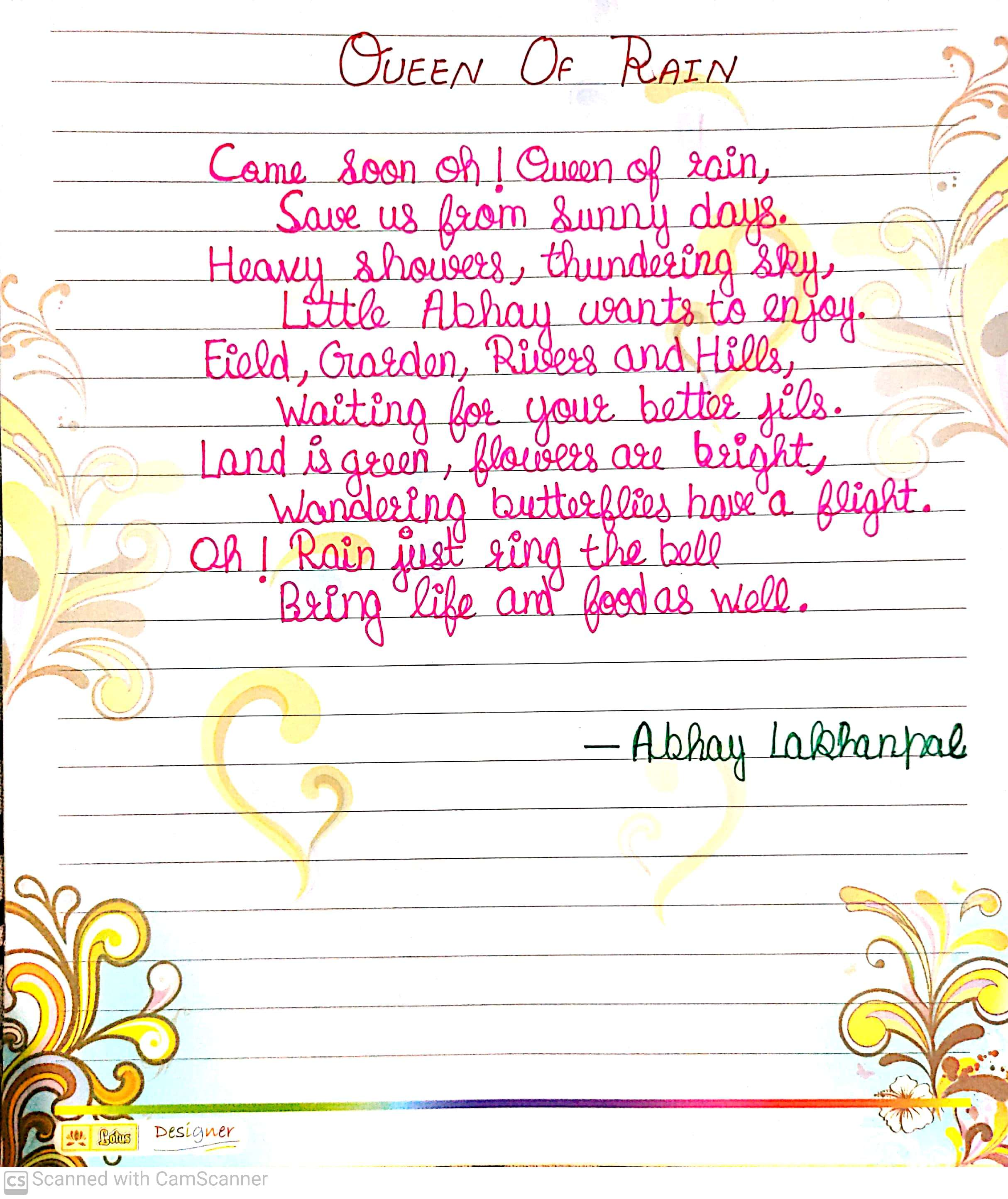 Abhay's Poem 'Queen Of Rains'