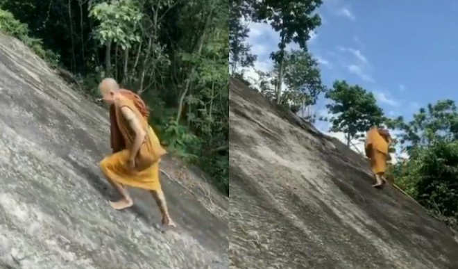 Viral: Monk Climbs Steep Hill Barefoot