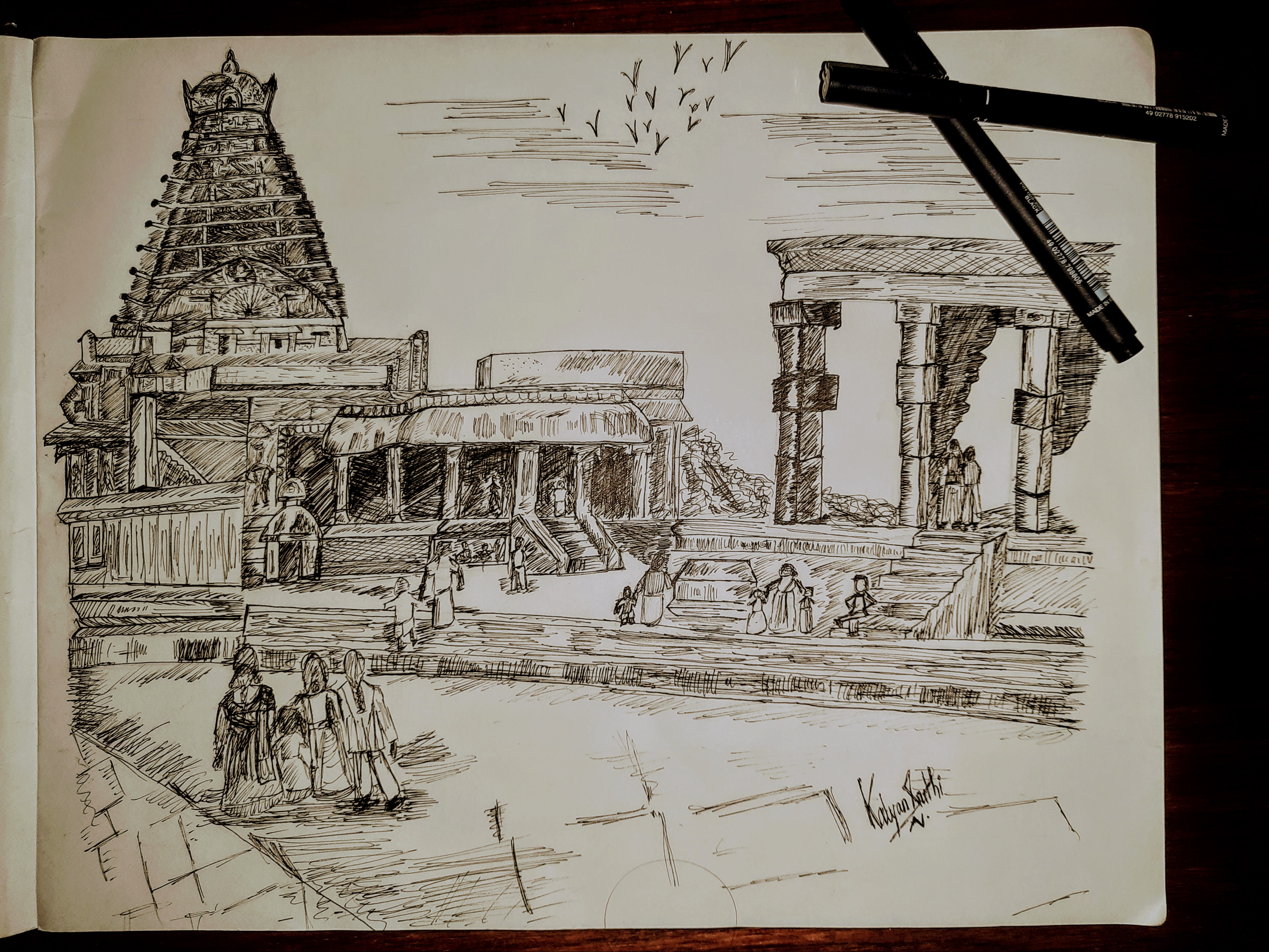 K.Sruthi's Sketch Of 'The Chola Temple'