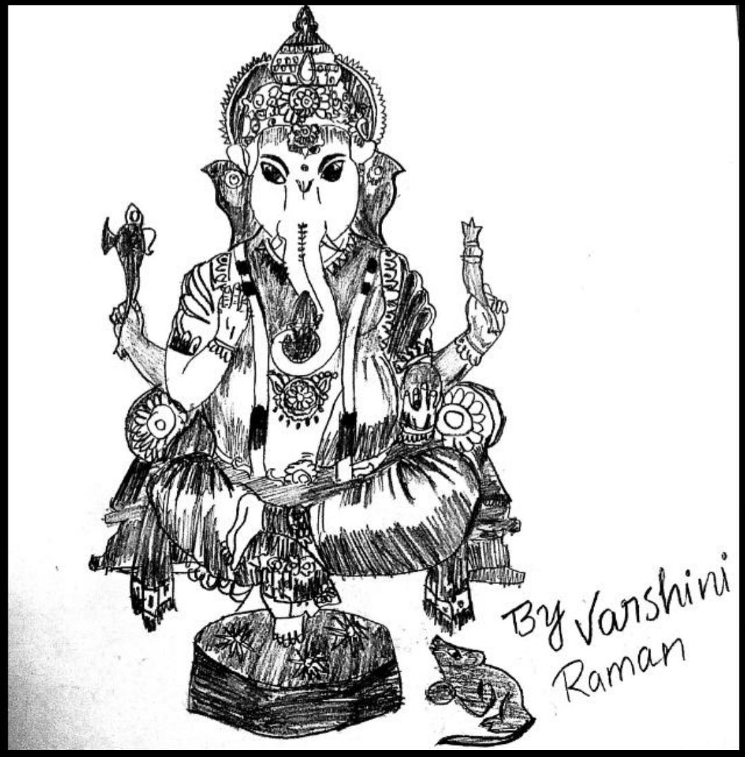 Varshini's Pencil Art Of Ghanapathi