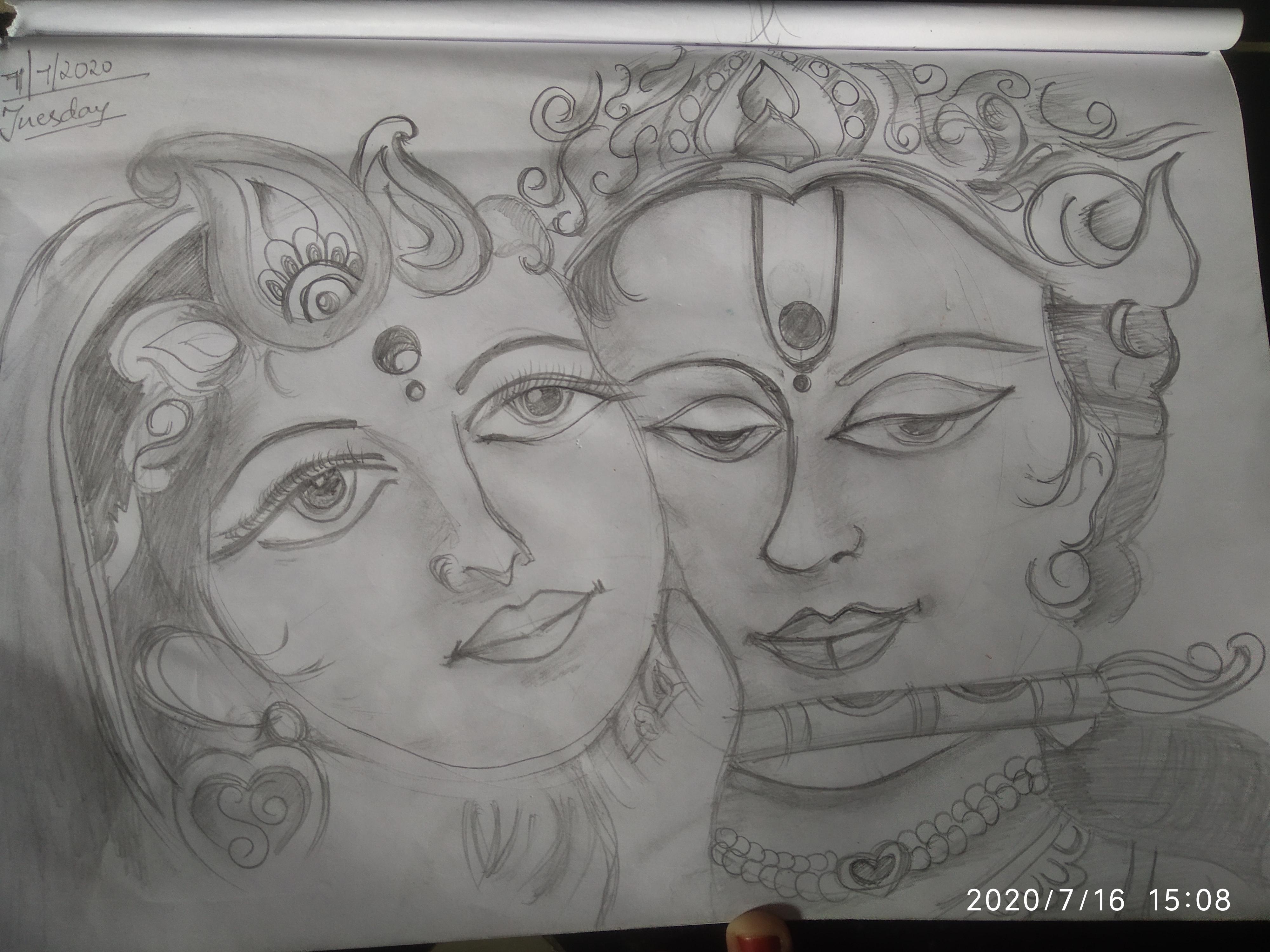 Kaki Sketched Radha Krishna