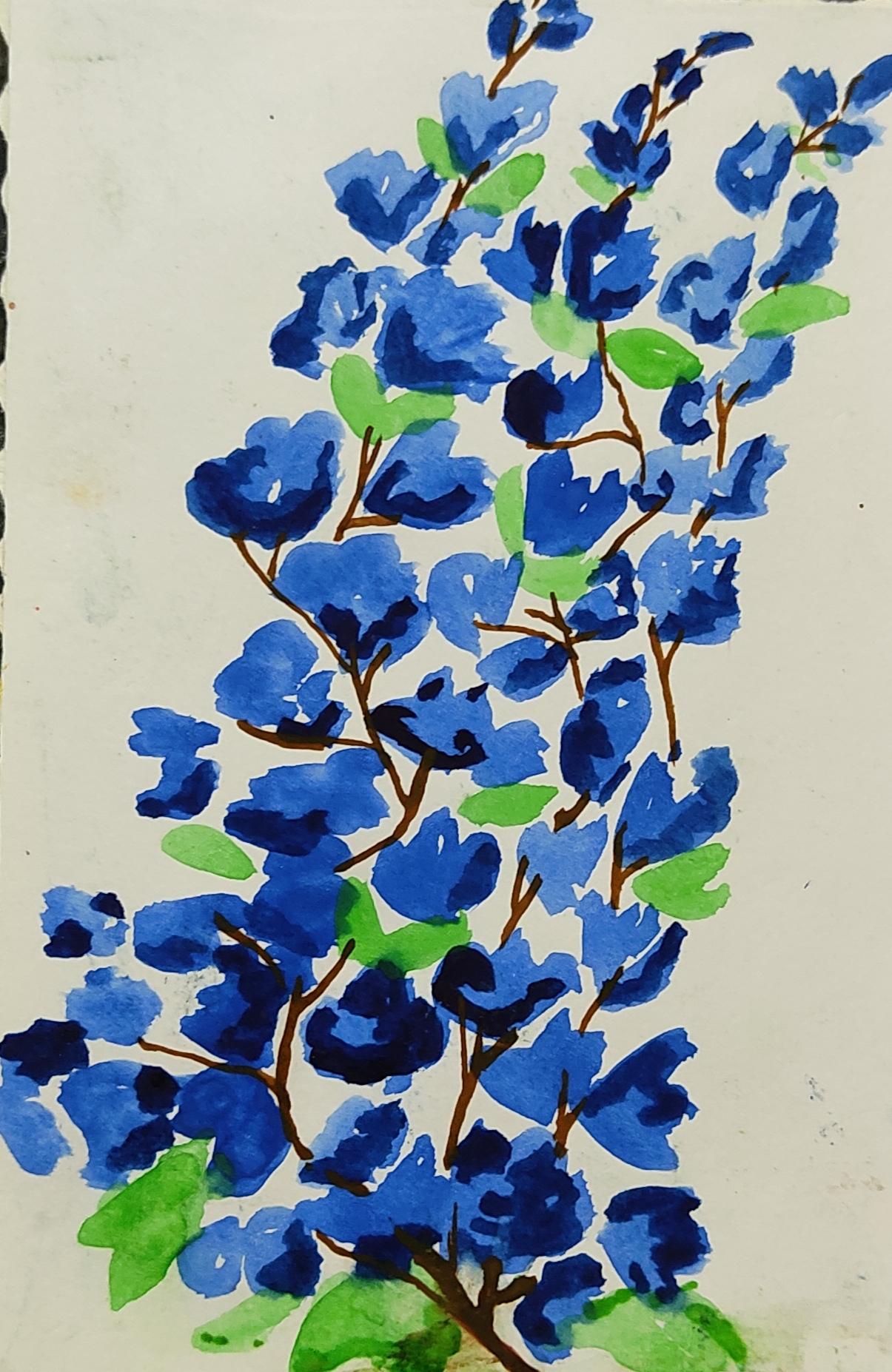 Aishani's Painting & Poem 'Blue Hues'