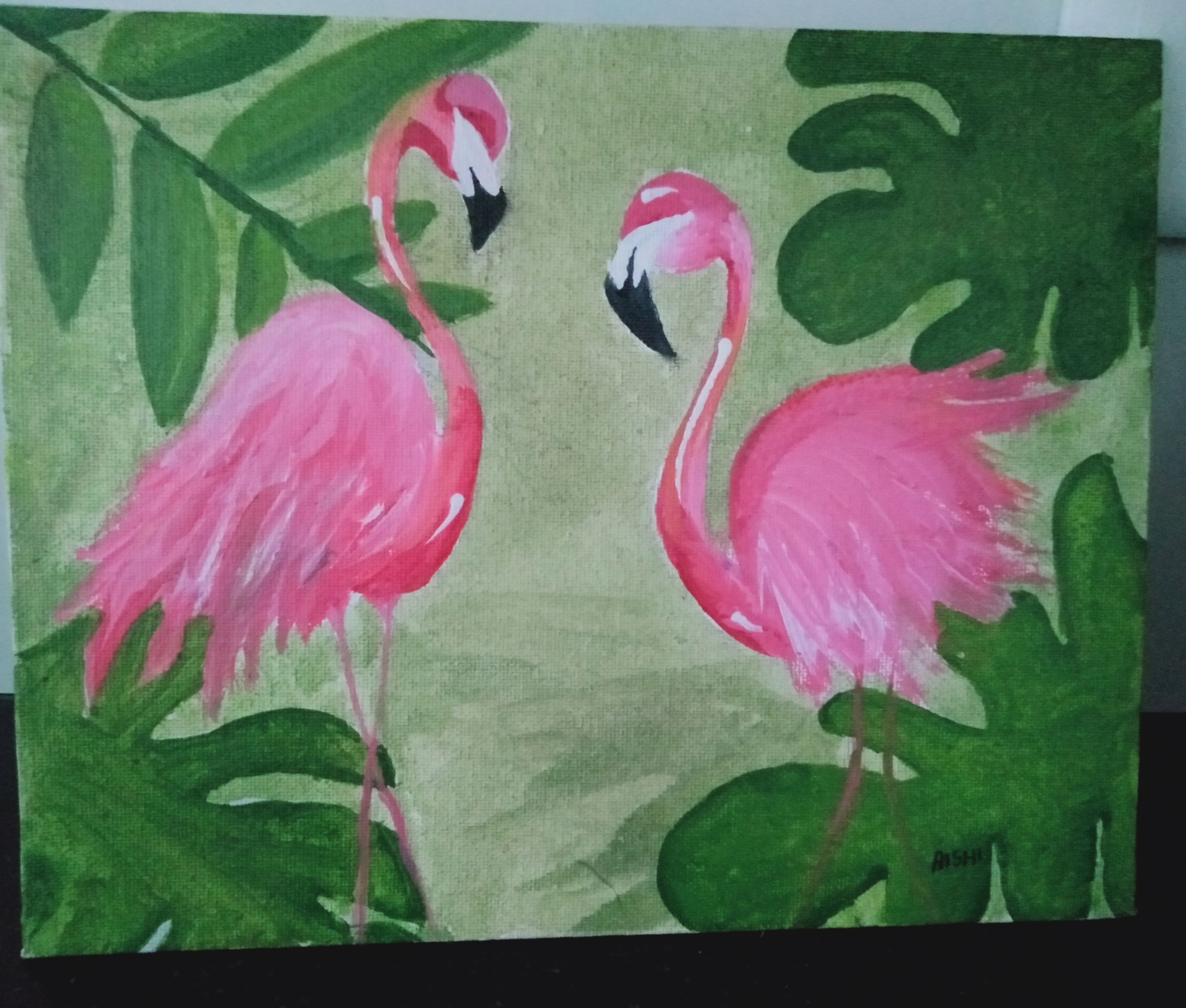 Aishi's Painting 'Flamingos- Mommy & Me'