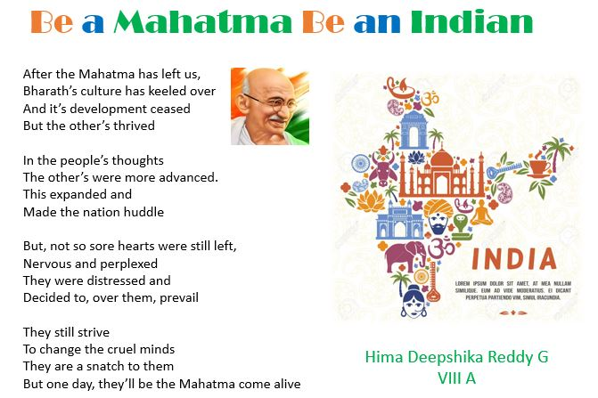 Hima's Poem 'Be a Mahatma Be an Indian'