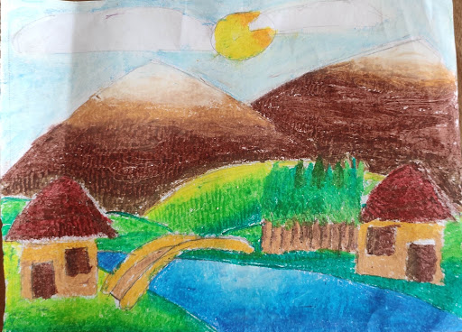 Aashna's Painting 'Green Lands'