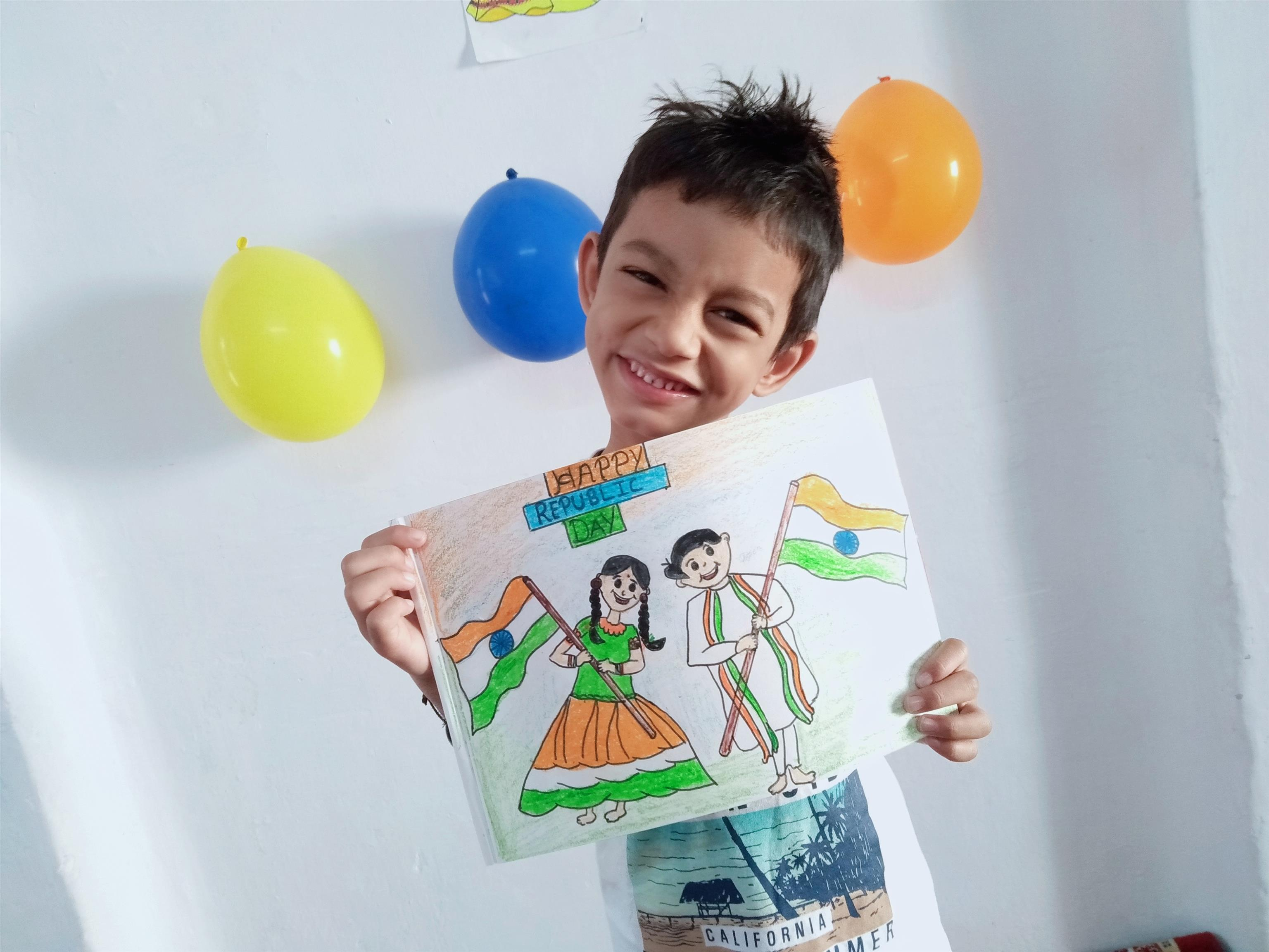 Little Moulick Singh Karki from Coimbatore wishes everyone a ' Happy Republic Day'