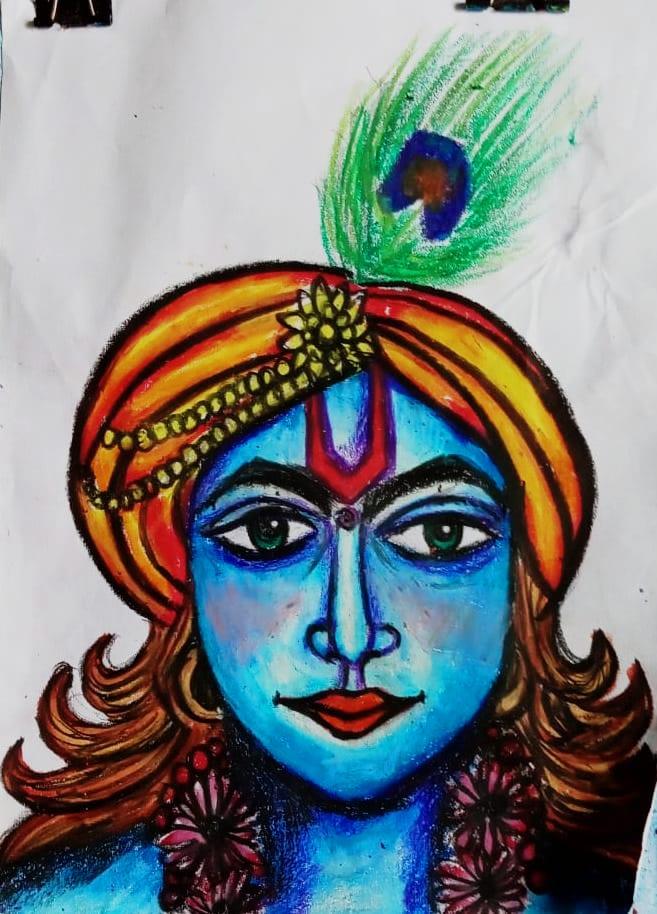 Aryav's Krishna Drawing