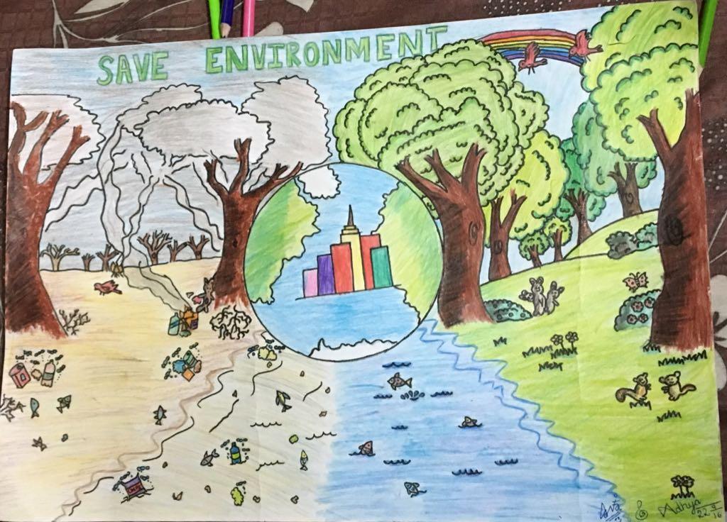 Adhya's Artwork 'Save Environment'