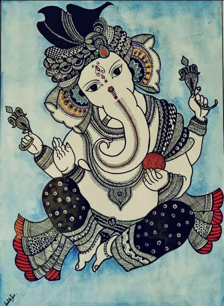 Sowmika's Ganapathi Pen Sketch
